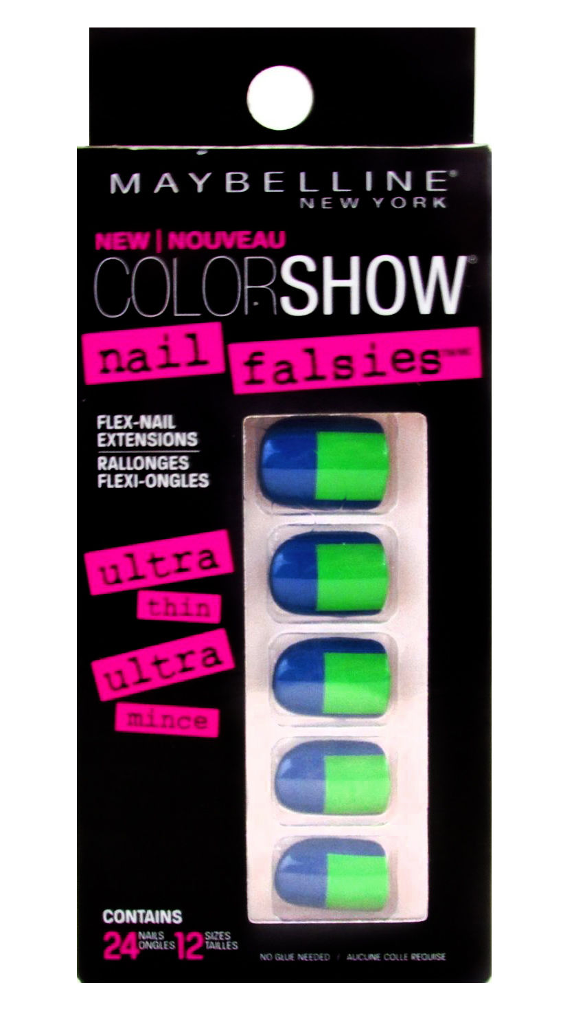 MAYBELLINE COLORAMA STICK ON FALSE NAIL TIP BLUE & GREEN DESIGN ...