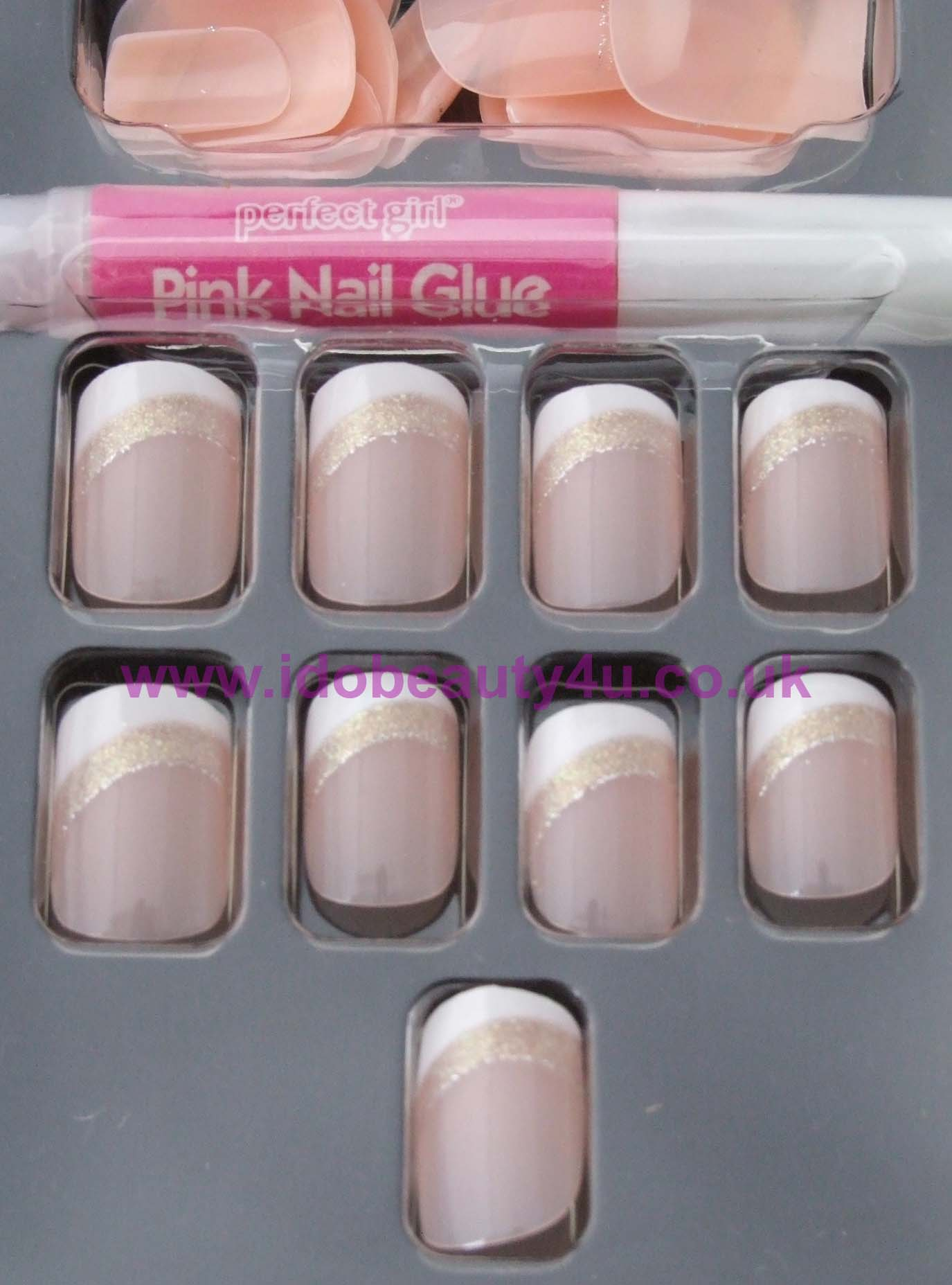 PERFECT GIRL PETITE GIRLS FALSE NAIL FRENCH PINK NAILS a